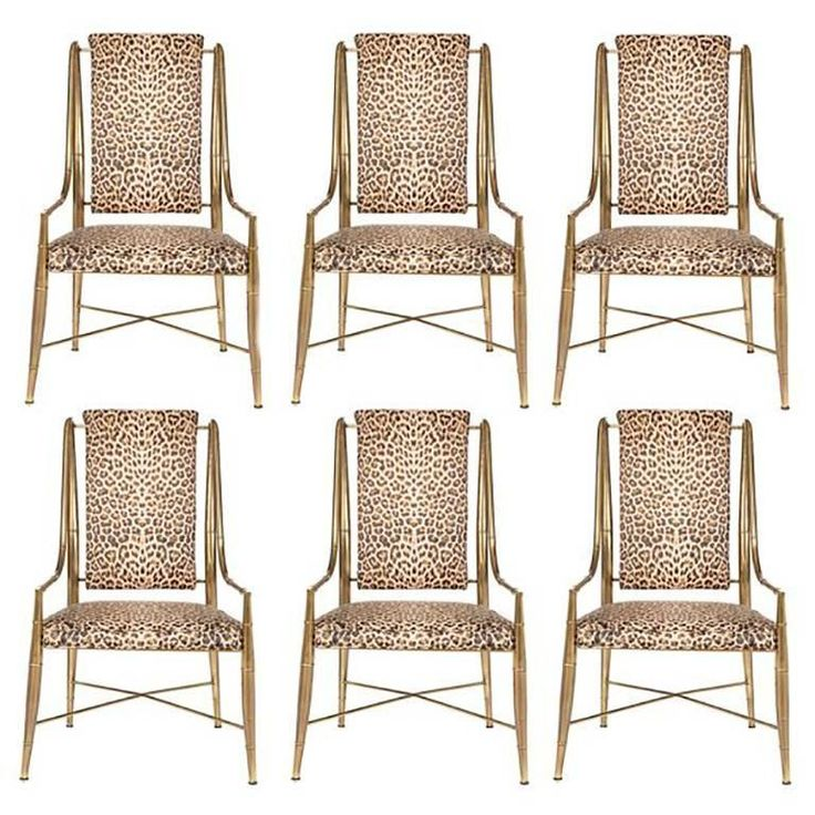Set of Six Mastercraft Bamboo Leopard Dining Chairs, Midcentury   From a unique collection of antique and modern dining room chairs at https://www.1stdibs.com/furniture/seating/dining-room-chairs/