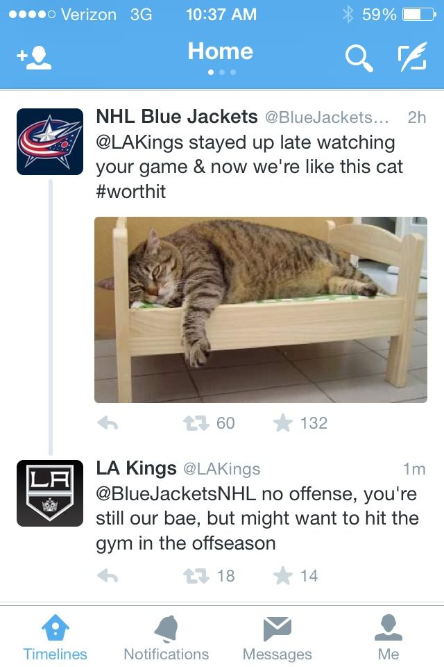 Columbus Blue Jackets and Los Angeles Kings | Hockey Team Tweets
