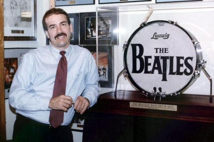 Russ Lease is the owner of Ringo Starr's Sullivan bass drum head and had the Ed Sullivan bass drum head mounted on a custom made front end bass drum wall mount for display.