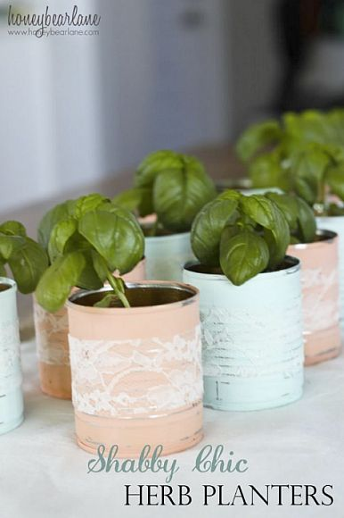 Shabby Chic Herb Planters from old tin cans using Americana Decor Chalky Finish. #chalkpaint #decoartprojects