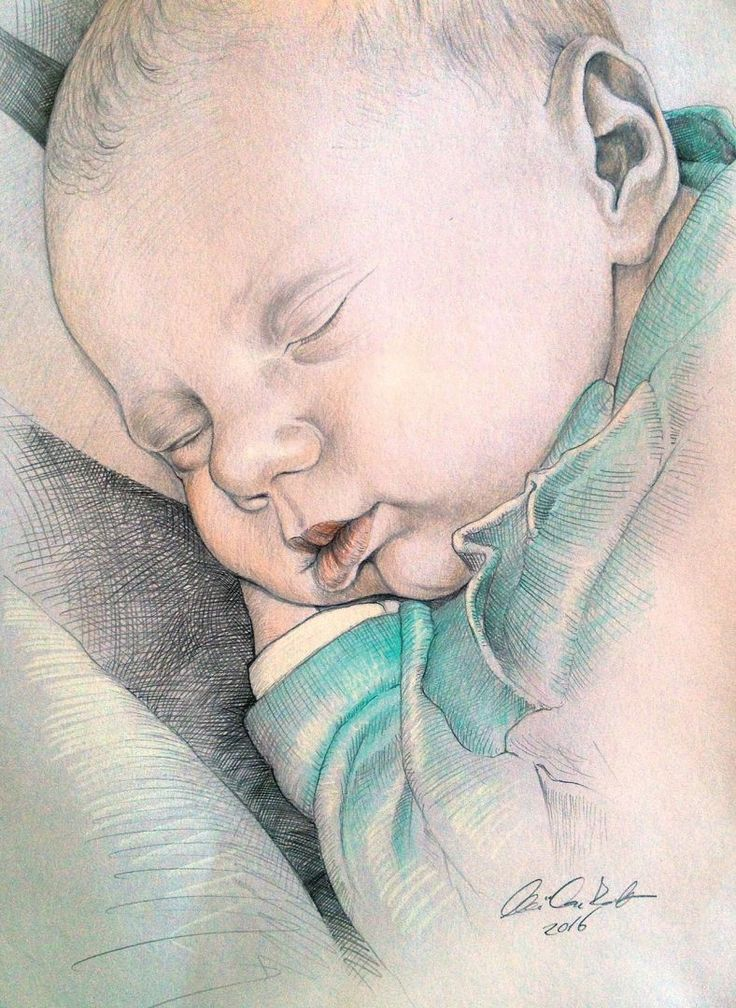 sleeping baby- colored pencil drawing