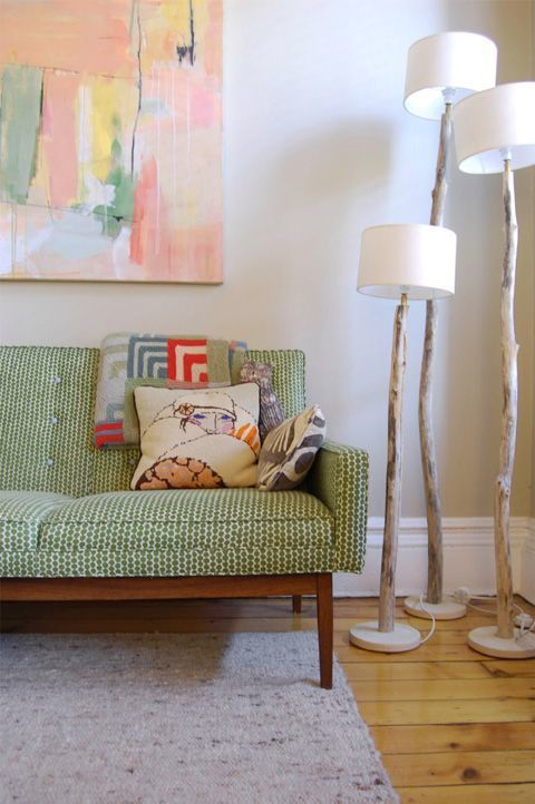 love the combination of colors and textures in the painting / couch / pillows.: Floor Lamps, Interior, Sofa, Idea, Livingroom, Living Room, Branch Lamps