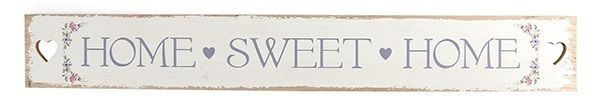 Iso ja ihana valkoinen puukyltti, jossa harmaalla teksti Home sweet home. Kaunis rustiikkinen tyyyli ja kyltin päissä sydämen muotoiset reiät. Näyttävä ja tyylikäs kyltti esim. ulko-oveen tai kiva lahjaidea uuteen kotiin.   Koko: pituus 73cm, korkeus 9,8cm  Materiaali: puu  Väri: valkoinen / harmaa