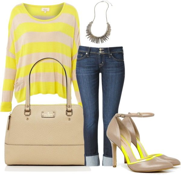 Yellow striped top with dark denim. Paired with an edgy spike necklace and yellow trimmed shoes.