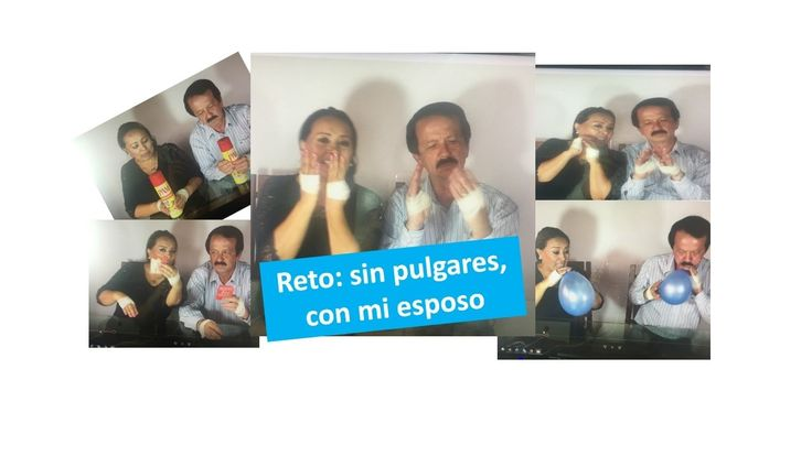 Reto sin pulgares, con mi esposo, I challenge without thumbs, with my hu...