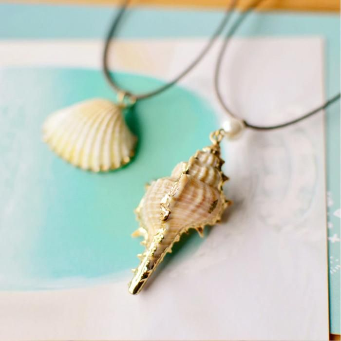 Beach Jewelry Golden Conch Shell Necklace