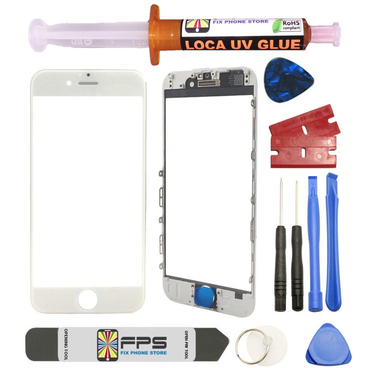 """iPhone 6 PLUS 5.5"""" WHITE Front Glass Lens with Frame Pre-Installed UV LOCA GLUE"""