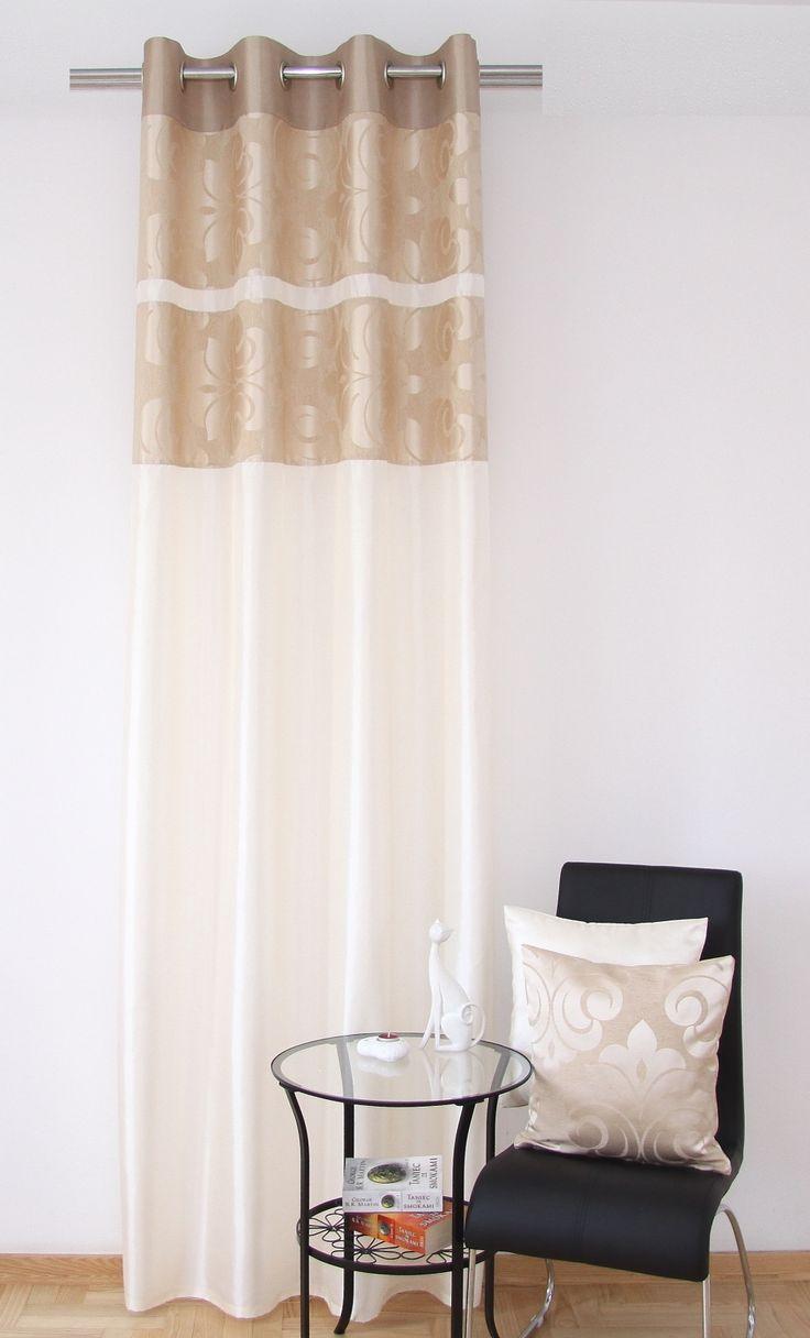 Zasłona modna w kolorze kremowym z orzechowym wzorem