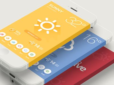 Beautiful weather app iOS design layout found on Dribbble.