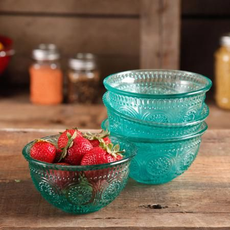 The Pioneer Woman Adeline 13 oz Emboss Glass Bowl, Set of 4 - Walmart.com $15.68