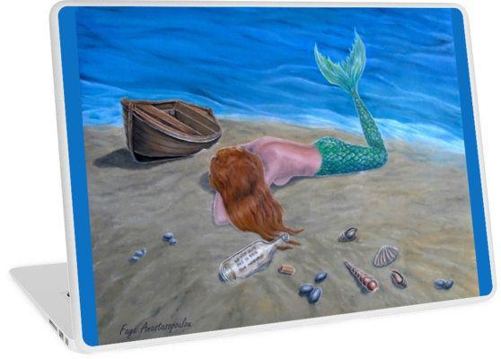 Laptop Skin,  mermaid,fantasy,colorful,aqua,blue,unique,cool,beautiful,trendy,artistic,unusual,accessories,ideas,design,items,products,for sale,redbubble