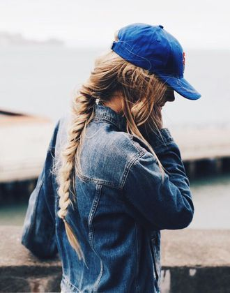 Beautiful Long Blonde Brown French Plait Braid With Blue Denim Jacket And Bright Blue Baseball Cap