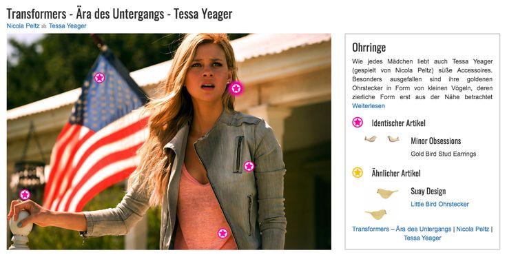 Wie jedes Mädchen liebt auch Tessa Yeager (gespielt von Nicola Peltz) süße Accessoires. Besonders ausgefallen sind ihre goldenen Ohrstecker in Form von kleinen Vögeln, deren zierliche Form erst aus der Nähe betrachtet auffällt. Die Ohrringe sind von Minor Obsessions und aus 10-karätigem Gold.