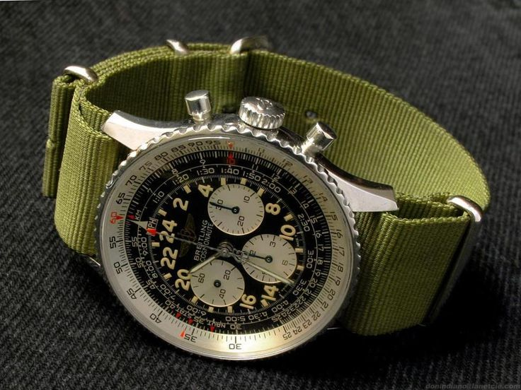 Not something we see too often, but boy does it a work--a classic Breitling watch, but with a military-style ribbon band in fatigue green....powerful and subtle, simultaneously..