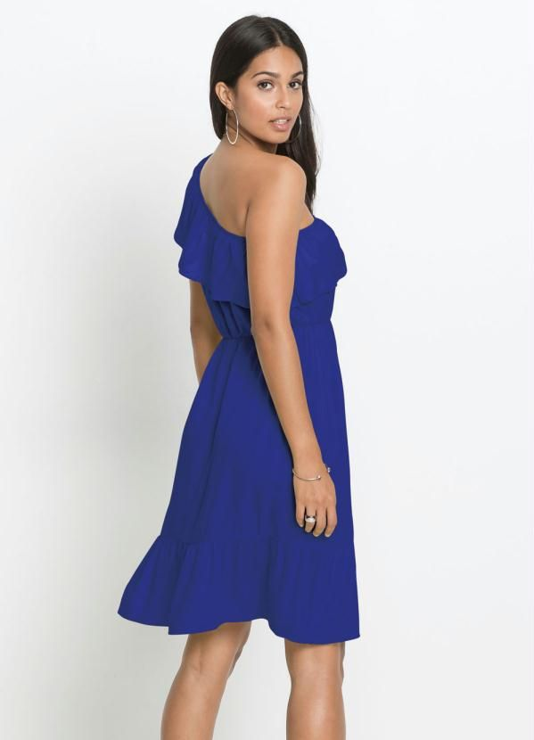 Vestido Azul Royal Um Ombro Ruffle
