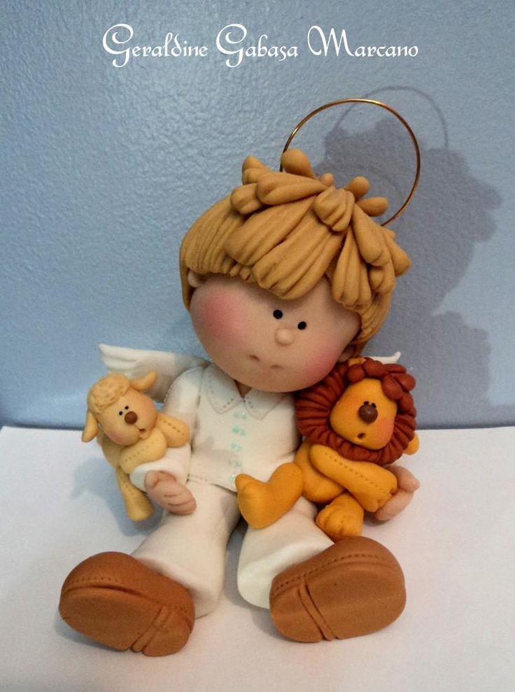 angel chico detalle pelo  porcelana fria polymer clay