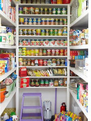 Use tiered shelf platforms in your pantry to organize canned goods so you can see what you have -- or don't have.