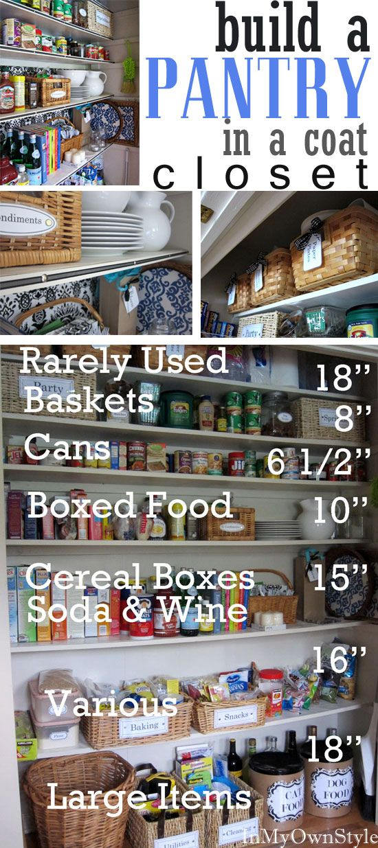 How I built a kitchen Pantry in a coat closet. Details on how organize and store everything from food to extra kitchen appliances.