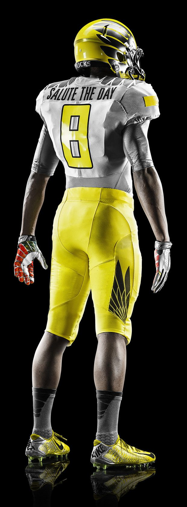 2014 Oregon Spring Football Uniform - Away Team Yellow Strike Design