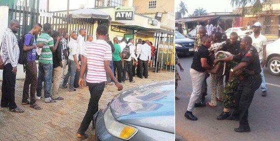 A police officer on Friday, wounded a soldier during a fight at the automated teller machine (ATM) at a bank in Damaturu, the Yobe State capital.