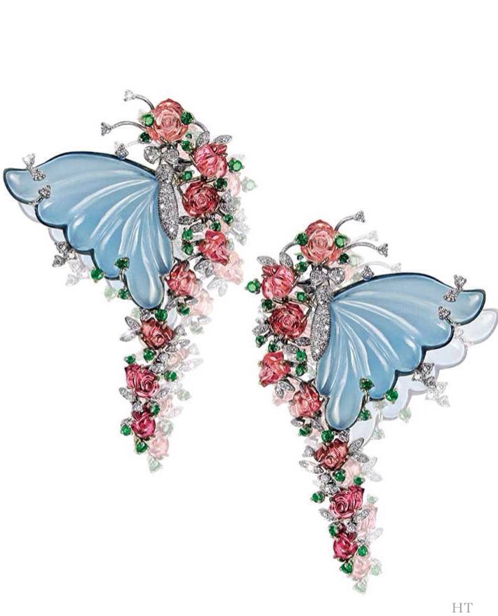 Butterfly earrings by Mirari with carved blue onyx wings, tourmaline flowers, emeralds and diamonds., HT