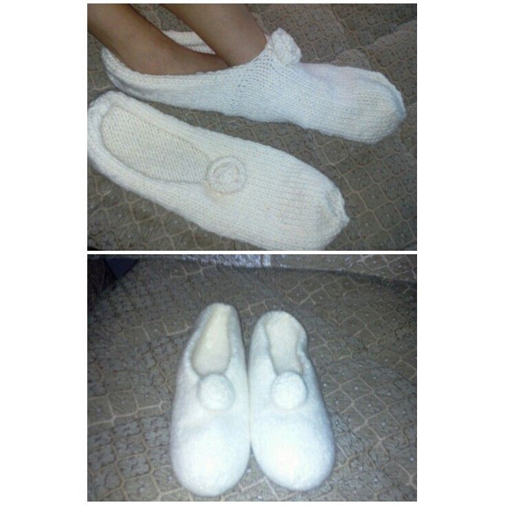 feltknitted slipper ....so amazingly warm!  who would have thought they will ever fit!