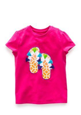 J. Khaki Girls' Flip Flop Tee Toddler Girls - Flamingo - 4T