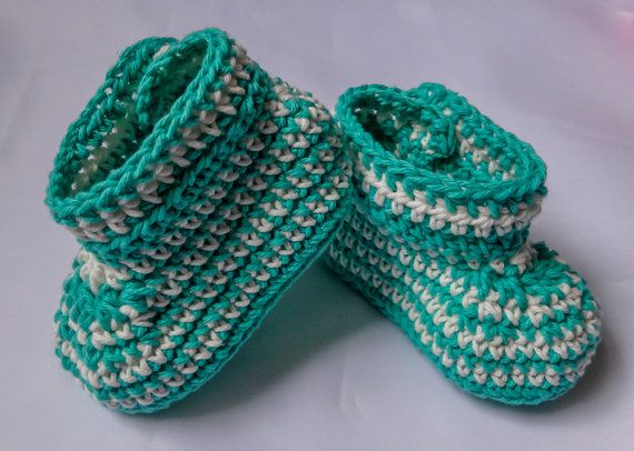 Free Standard Shipping Crochet Baby Booties Green by MadeByLauri