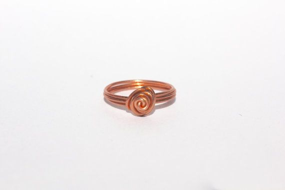 Rose Gold Rose Wire Ring by MeekAndNeek on Etsy