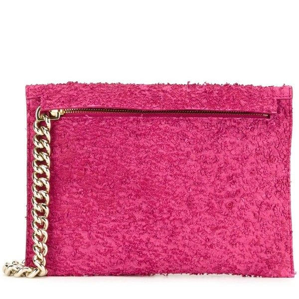 Scanlan Theodore Small Chain Clutch (1.470 BRL) ❤ liked on Polyvore featuring bags, handbags, clutches, pink purse, chain handbags, pink handbags, pink clutches and chain purse