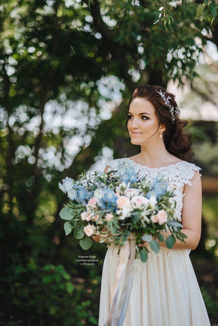 Букет невесты растрепыш с дельфиниумом #букет #невеста #дельфиниум #растрепыш