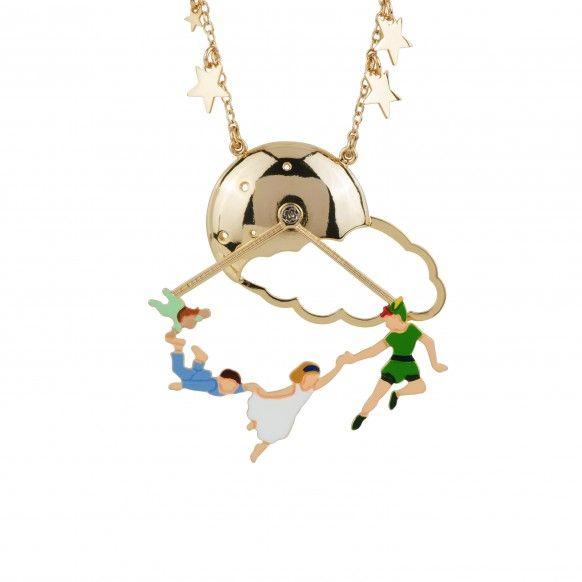 """Les Néréides - collection """"Envole-moi"""" - Collier Peter Pan et les enfants Darlings volant sous la lune et ciel étoilé $95"""