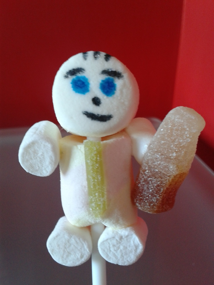 Yummy marshmallow man with tie and cola bottle