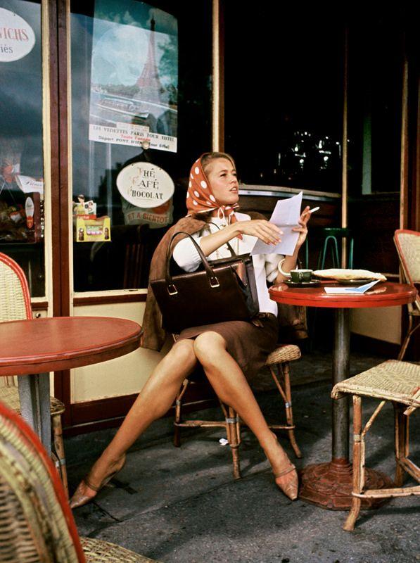 Jane Fonda at Café de Flore ,Paris, photo by Willy Rizzo, 1961