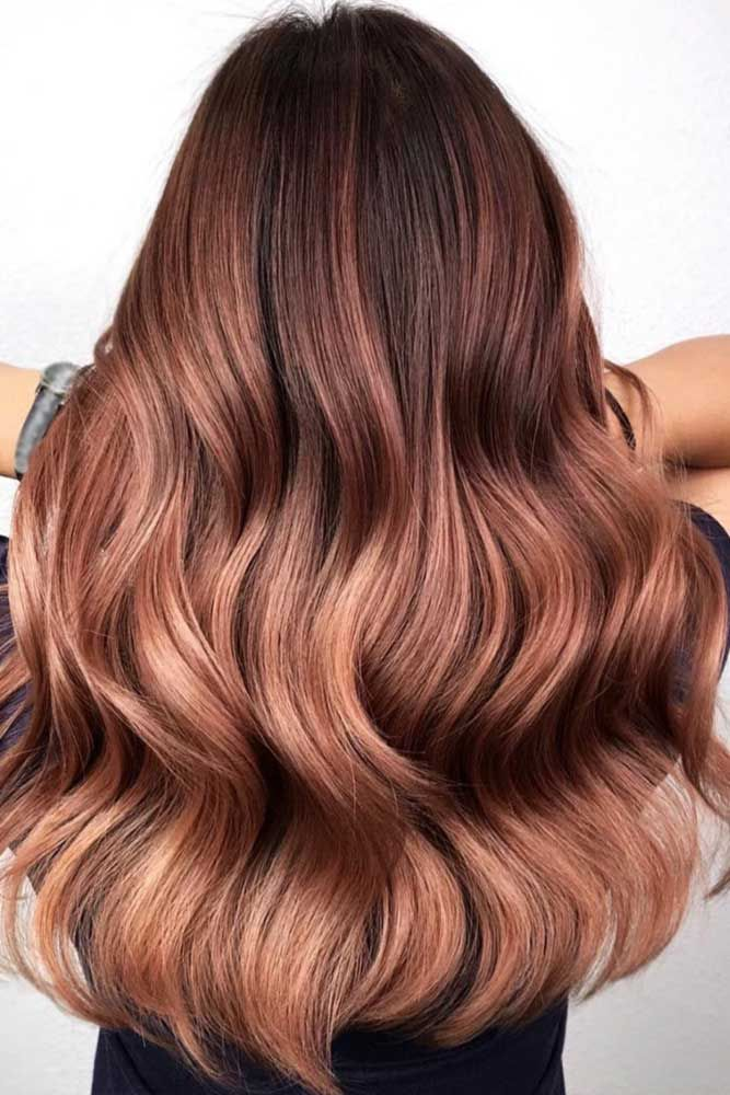 Rose Gold Balayage For Reddish Brunettes #balayage #rosegoldhair ★ You have probably noticed that rose gold hair is in f…