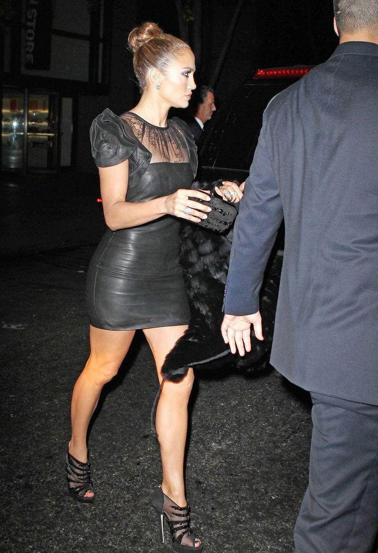 Jennifer Lopez in Black Leather Mini Dress