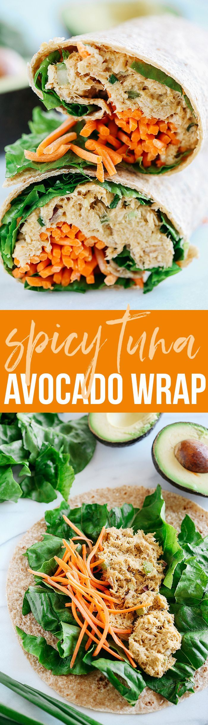 These Spicy Tuna Avocado Wraps are light and fresh, full of flavor and only take 5 minutes to make! The perfect healthy lunch for a busy work week!