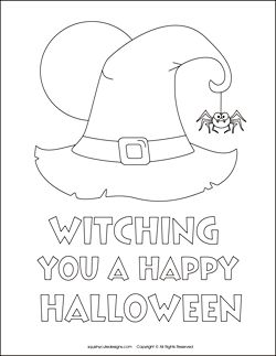 Free Halloween coloring pages - witch coloring sheets - witch hat, spider