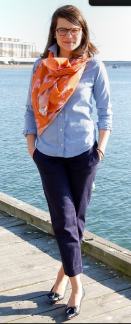 light blue chambray button-up + navy ankle pants + orange print scarf + navy pointy-toed pumps
