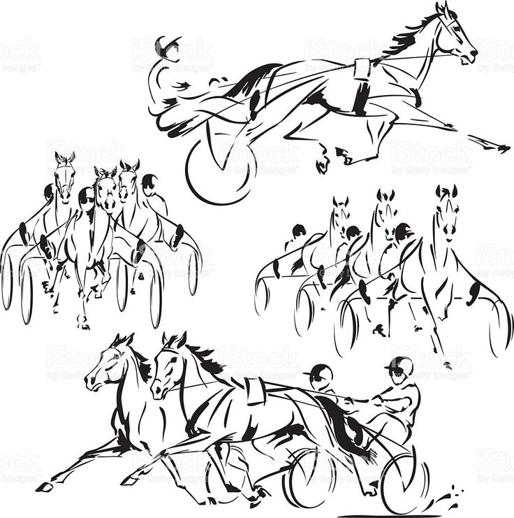 Four harness-racing themes royalty-free stock vector art