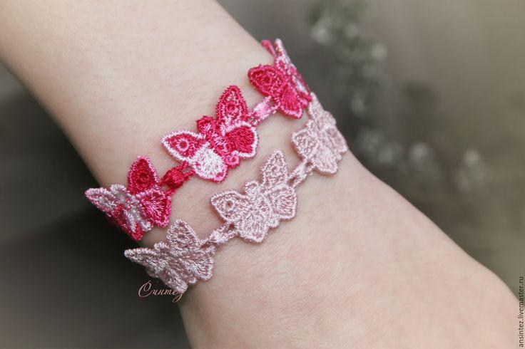 Купить Вышитые браслеты Воздушное настроение в полете бабочек набор - однотонный, розовый, вышитый браслет