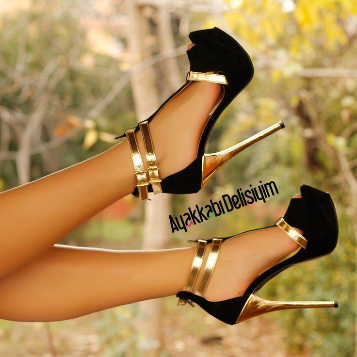 Sofya Siyah Dore Platform Topuklu Ayakkabı #heels #shoe #shoelover #shoes #fashion #black #moda