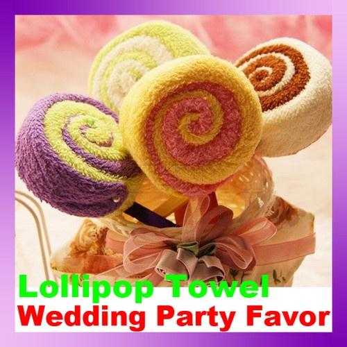 Small Towel Washcloth Gift Lollipop Towel Bridal Baby Shower Wedding Party Favor