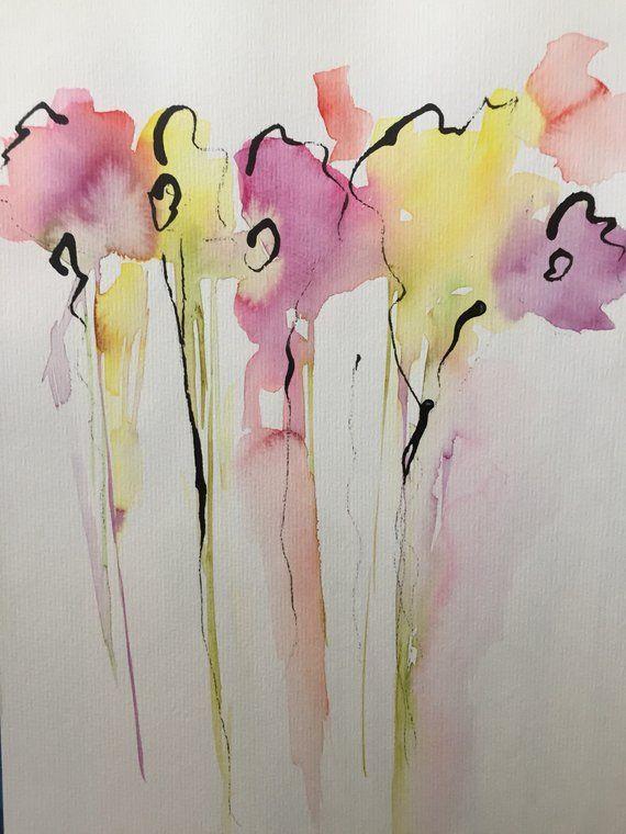 Original Watercolor Watercolor Painting Image Art Abstract