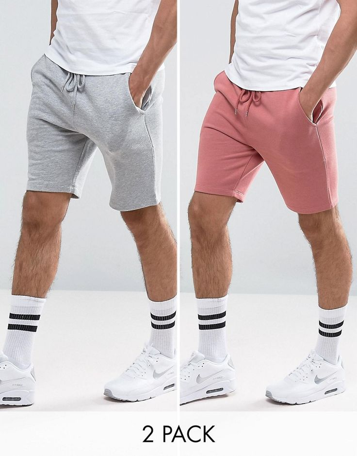 ASOS Jersey Skinny Shorts 2 Pack Pink/Gray Marl SAVE - Multi