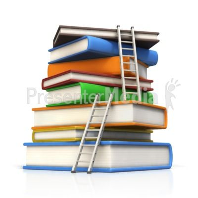 Ladders to Top of Book Stack PowerPoint Clip Art