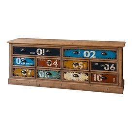 Display your flatscreen TV or stow books and DVDs with this handsome wood chest, showcasing 10 multicoloured drawers and cup-style pulls.   Product: ChestConstruction Material: Solid wood and metalColour: Natural, blue, navy, orange, green, red and creamFeatures: Ten drawersDimensions: 60 cm H x 158 cm W x 40 cm D