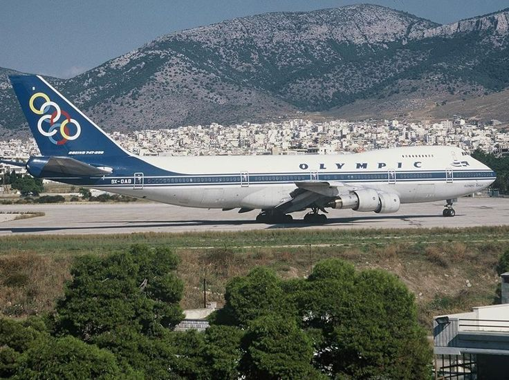 "Olympic Airways Boeing 747-284B SX-OAB ""Olympic Eagle"" about to turn onto the runway at Athens-Ellinikon, October 1996. (Photo: Alan Lebeda)"