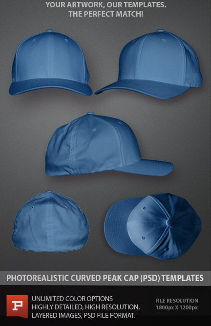 Curved peak Flexfit hat template. Smart object layers add realism never seen before in a product mockup file. See it at: https://www.prepresstoolkit.com/shop/curved-peak-hat-template-psd/