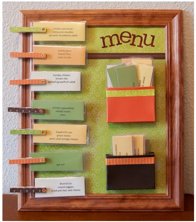 The Ultimate Menu Board For Quick Meal Planning--soooo doing this before school starts, the sooner the better!!!  Okay, I really probably won't.  But I AM going to pin it.  And hope someone else makes it for me. -- hey, I could have said that (jo) :)